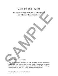call of the wild the multiple choice essay examination  preview