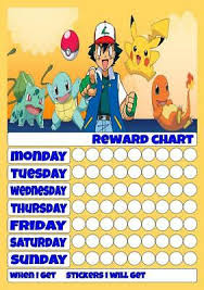 Pokemon Behaviour Chart Pokemon Reusable Reward Chart Inc Stickers Pen Good