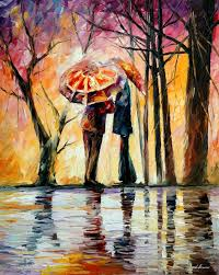 rainy date original oil painting on canvas by leonid afremov size