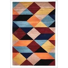 s blue geometric rug area