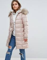 Asos Design Waterfall Parka With Borg Liner New Look Padded Coat With Extreme Faux Fur Hood Nude