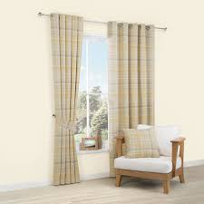 Addison Cream & Yellow Tartan Woven Eyelet Lined Curtains (W)117 cm (L)137  cm | Departments | DIY at B&Q.
