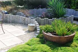 garden design with sleepers. design ideas for a rustic backyard landscaping in wellington garden with sleepers
