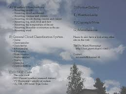 weather observations general cloud clification system synop code picture gallery weather links copyright note contact miscellaneous my