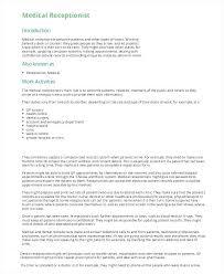 Medical Receptionist Resume Sample Resume Template Receptionist