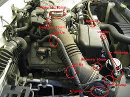 how to replacing spark plugs and wires on 5vz fe 3 4 v6 tacoma prepare the passenger side of the engine this is most easily done by removing the air intake tube pictured below are the components that need to be
