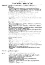Download Investor Relations Associate Resume Sample as Image file