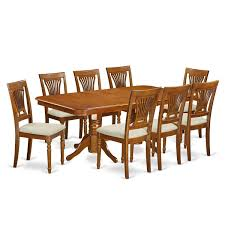 napl9 sbr 9 pc dining room set dining table and 8 dining chairs microfiber rubberwood microfiber brown size 9 piece sets