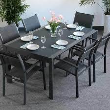 modern grey weatherproof extending 6 seater garden furniture glass top outdoor dining table set 11