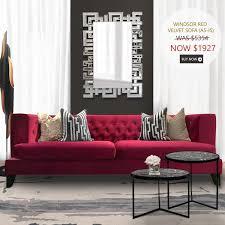 red velvet sofa. Windsor Red Velvet Chesterfield Sofa, 3-seater-plus Sofa T