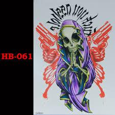 Bůh Smrti Lebka Zbraň Temporary Tatto Vodotěsné Muži ženy 3d Tetování Rameno Samolepka Falešná Ruka Rukáv Tělo Tetování Ramena Tetování