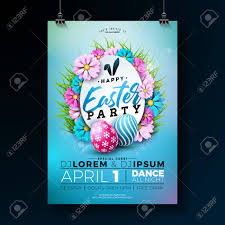Vector Easter Party Flyer Illustration With Painted Eggs Flowers