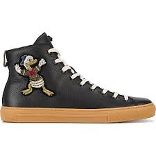 gucci shoes for men low tops. gucci donald duck hi-top sneakers - black shoes for men low tops t