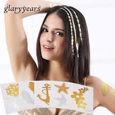 Us 065 1 Sheet 2019 Health Ht100 Flash Metallic Anchor Feather Tattoo Women Hair Shoulder Body Art Temporary Hair Tattoo Sticker Makeup In