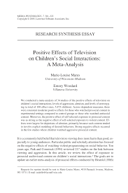 positive effects of television on children s social interactions  positive effects of television on children s social interactions a meta analysis pdf available