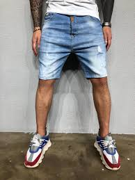 Light Blue Jean Shorts Mens Washed Light Blue Ripped Jeans Short Bl459 Streetwear Mens Shorts