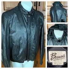details about bermans black leather er jacket men s zip out fleece lining size 46