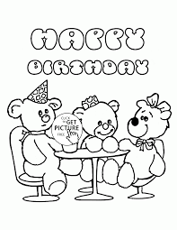 Happy Birthday With Teddy Bears Coloring