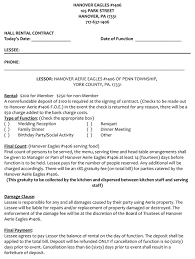 Catering Contract For The Hanover Eagles