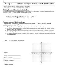 vertex form sheet printable pdf