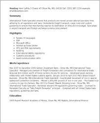Resume Templates: International Trade Specialist