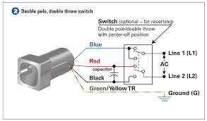 how to connect a reversing switch to a 3 or 4 wire psc example 2 connect the double pole double throw switch