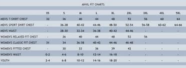 Gildan Size Chart Ladies Anvil Size Chart Stitch Logo Uniforms