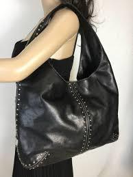 michael kors astor studded black leather hobo large shoulder bag 96 00