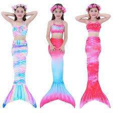 Kids <b>Girls</b> 3Pcs <b>Mermaid Tail</b> Swimming Bikini Set Swimwear ...