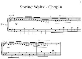 chopin spring waltz sheet music spring waltz chopin sheet music for piano