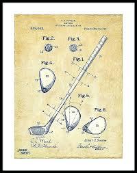 golf prints framed golf framed print featuring the digital art vintage golf club patent artwork by golf prints framed
