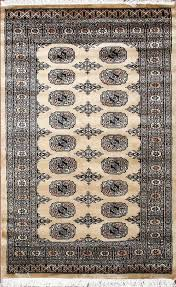 details about traditional hand knotted bokhara area rug beige black color persian rugs 3 x 5