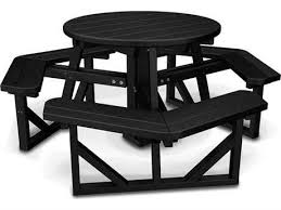 polywood park recycled plastic 36 round picnic table