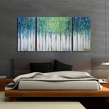 artland hand painted 24x48 inch blue memory 3 piece gallery wrapped abstract oil painting on canvas wall art set on wall art frames for bedroom with 2 piece wall art for bed room amazon