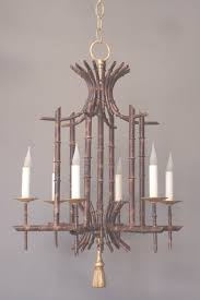 italian vintage faux bamboo tole chandelier view 22 of 35