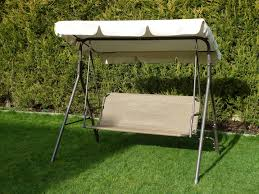 brown 3 seater garden swing seat hammock metal frame weatherproof textoline seat adjule canopy