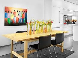 decoration vases of tulips in a contemporary dining e flowers vases whimsical display wooden table black chairs black rug kitchen white walls exotic