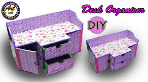 diy desk organizer drawer organizer from card board best out of waste art with creativity 202