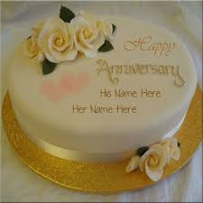 Couple Name On Golden Happy Anniversary Cake Picture Greetings In