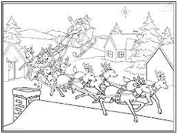 Kerstman Met Rendieren Kleurplaat