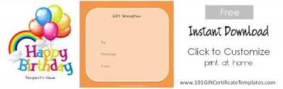 Free Printable Iou Forms Free Birthday Gift Certificate Template