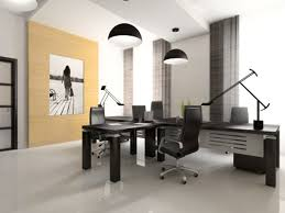 office decoration. Home Office:Interior Of The Cabinet In Office 3D Rendering Interior Decoration