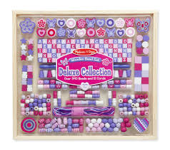 Wooden Bead Game Amazon Melissa Doug Deluxe Collection Wooden Bead Set With 40