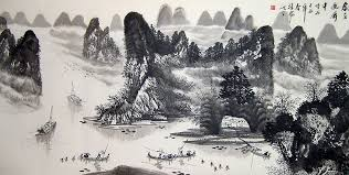 chinese landscape paintings water village 2