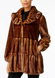 faux fur tiered babydoll coat jones new york