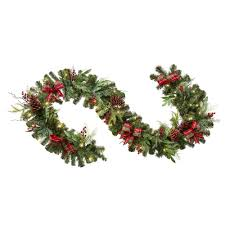 Battery Operated Lighted Garland Home Accents Holiday 9 Ft Battery Operated Pre Lit Led Artificial Christmas Garland