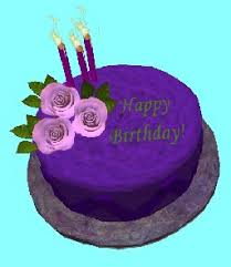 Second Life Marketplace Happy Birthday Purple Cake With Pink Roses