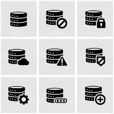 ベクトル黒のデータベースアイコンセット つながりのベクターアート