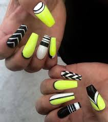 Neon yellow, black, white nail art | Nail Art | Pinterest | Black ...
