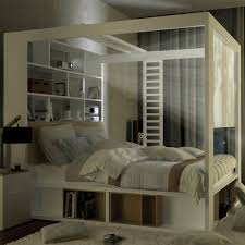 Poster Bedroom Furniture 4you 4 Poster Double Bed With Storage Shelves In White Single Beds
